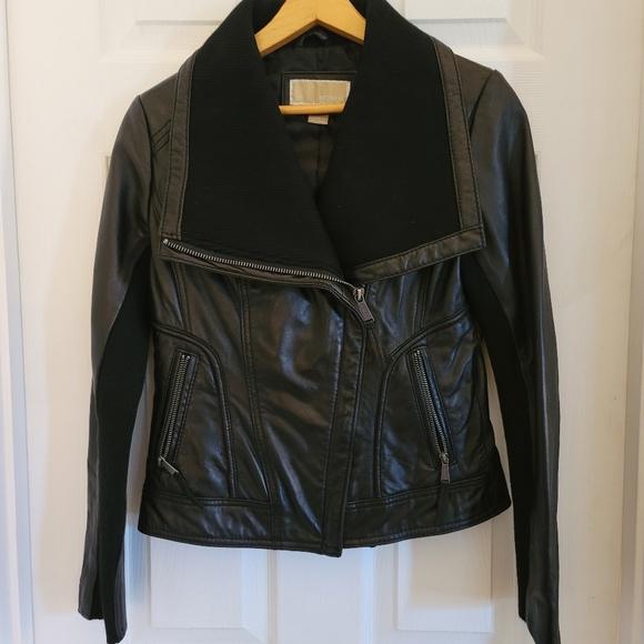 MICHAEL Michael Kors Black Leather Jacket szPM